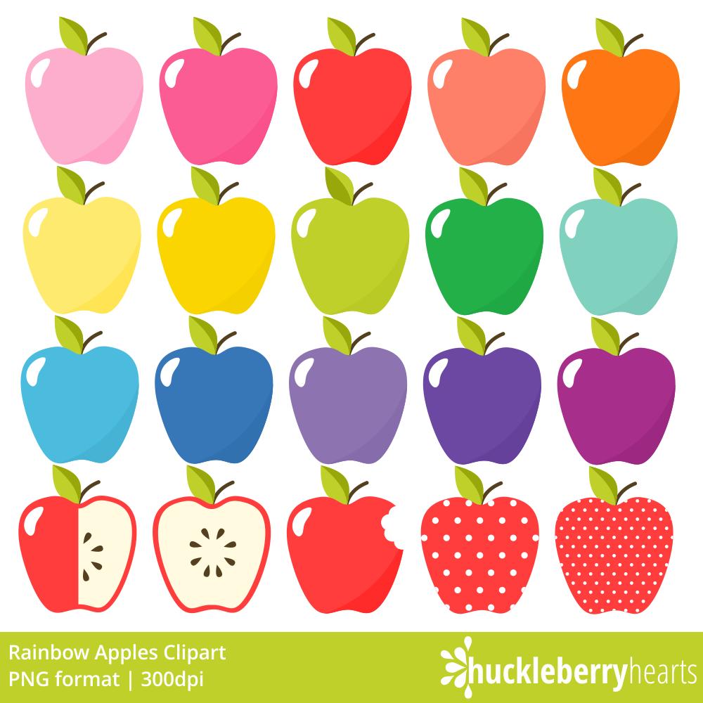 Rainbow apples clipart.