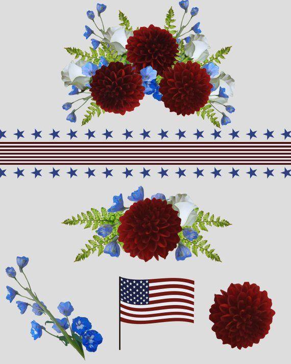 Patriotic floral clip.