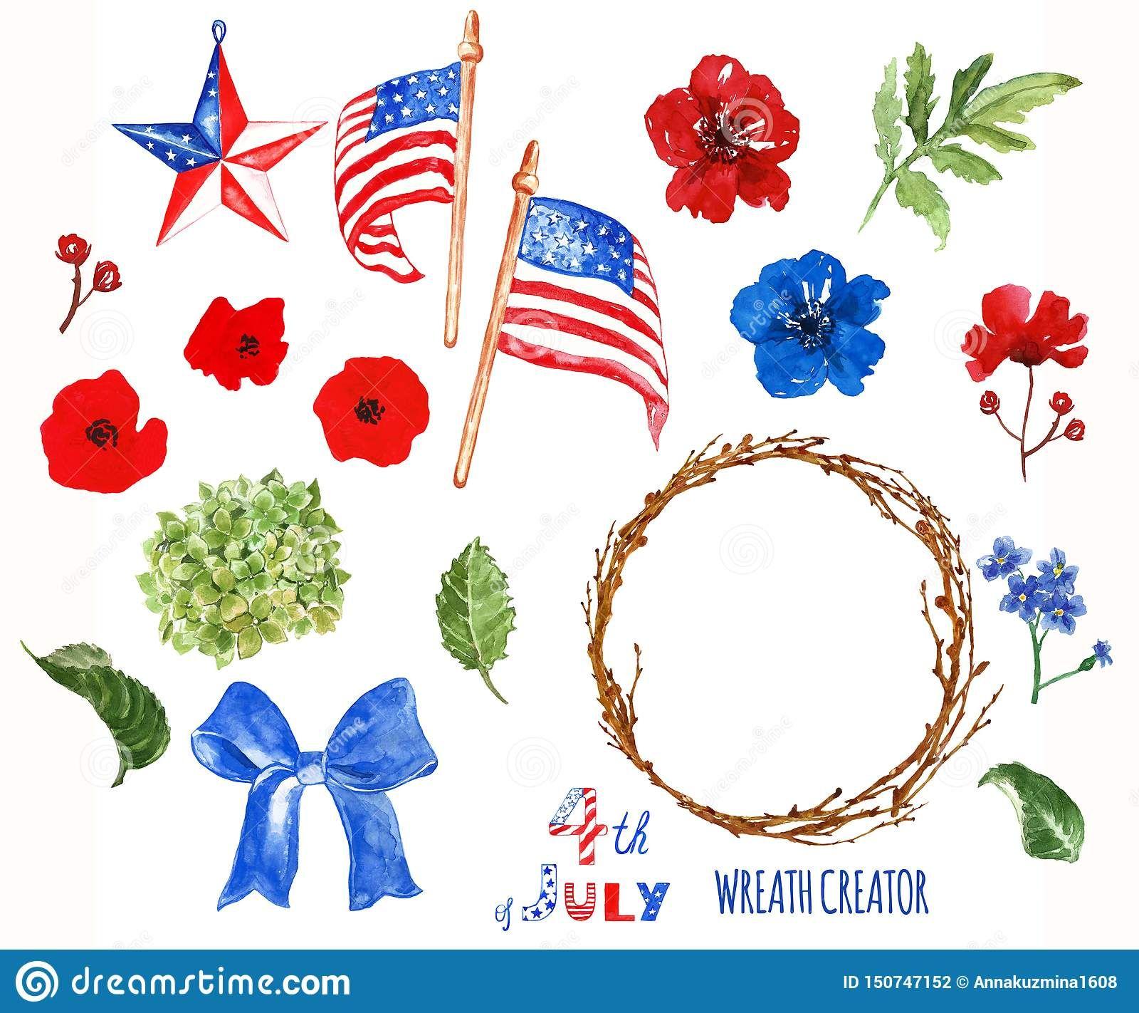 Watercolor patriotic wreath.
