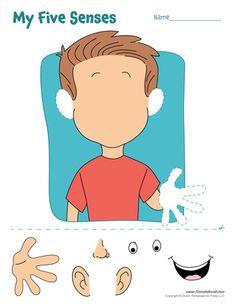 5 senses clipart labeling