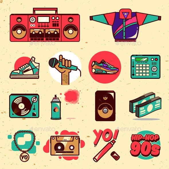 Hiphop 90s illustrations.