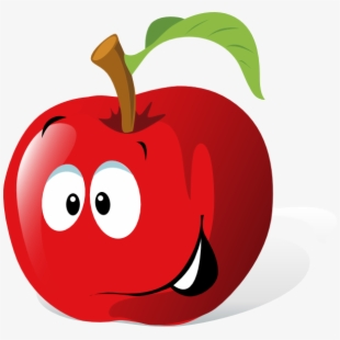 Cartoon red apple.