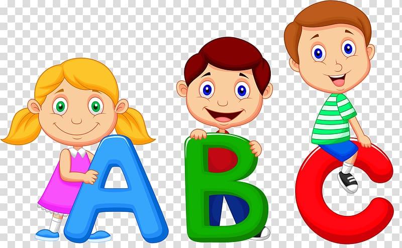 Children holding abc.
