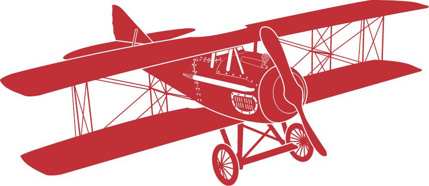 Red vintage airplane.