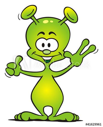 Alien green waving.