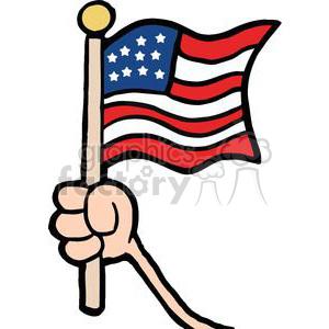 Hand waving american.