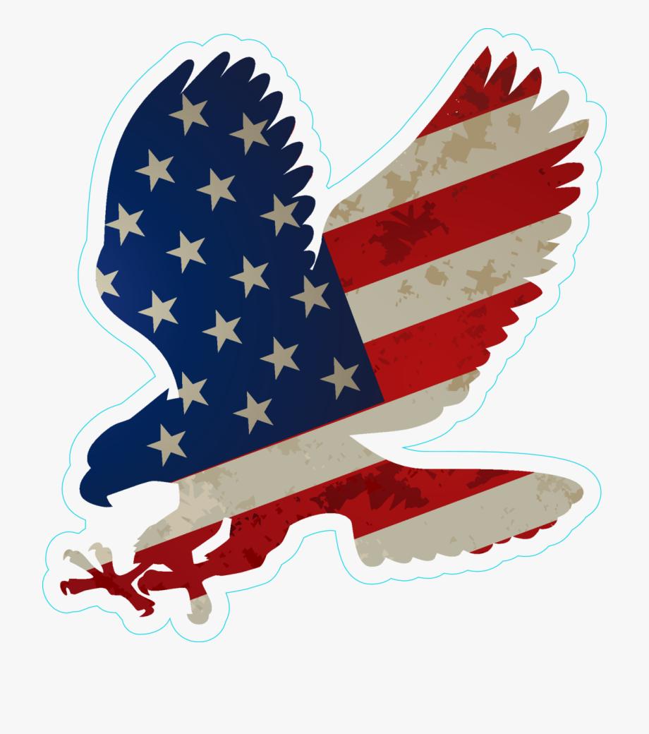 Eagle with flag.