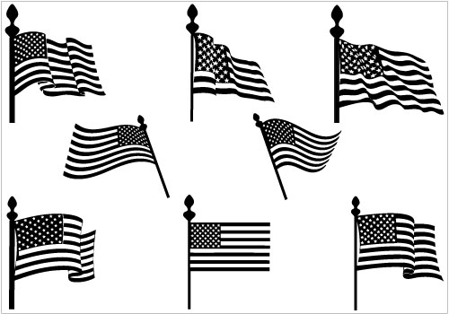 American flags silhouette.