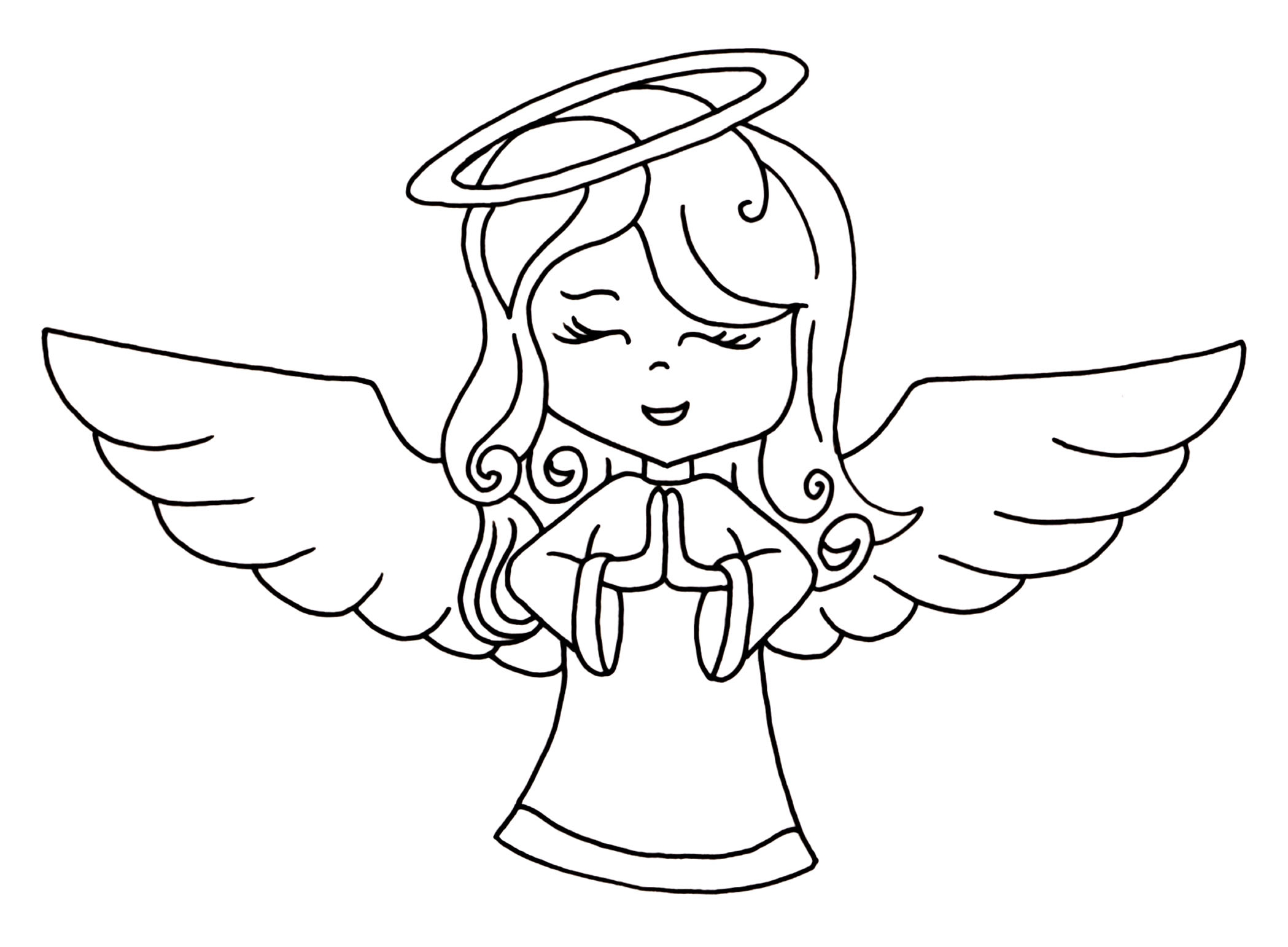 Angel clipart black.