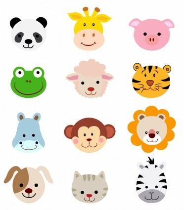 Animal faces set.