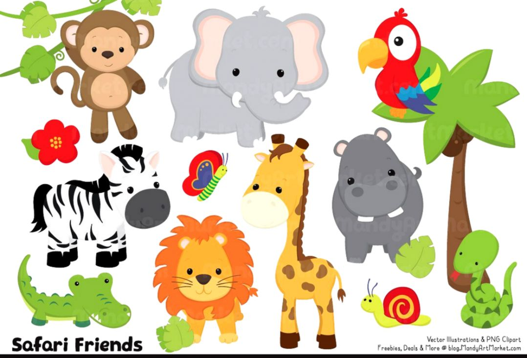 Cute animals clipart.
