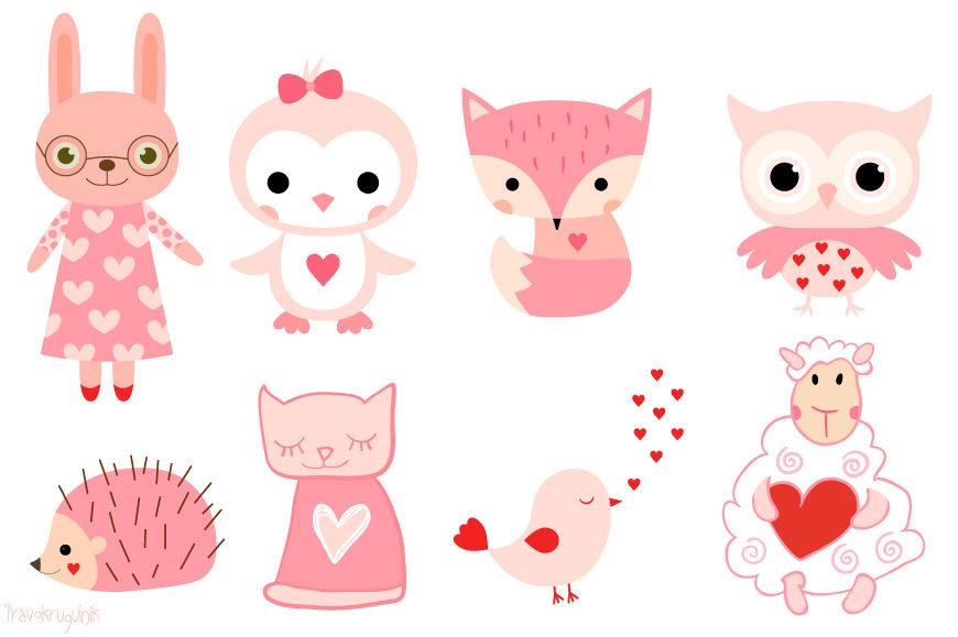 Valentine animals clipart.