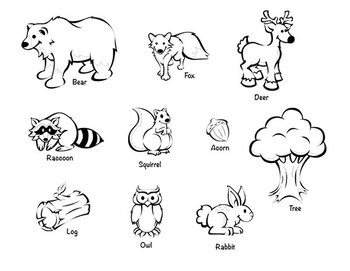 Animals black and white clipart forest pictures on ...