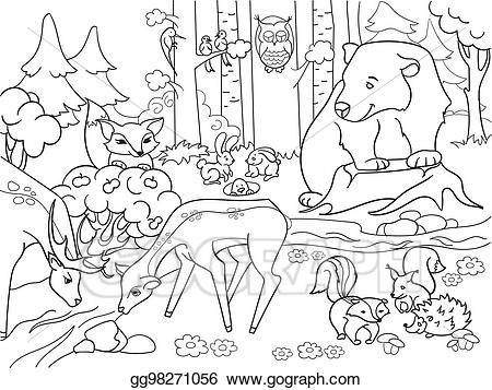 forest clipart black and white coloring