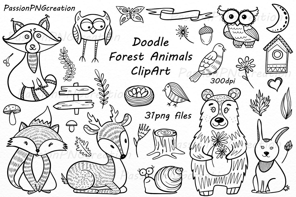 Forest clipart black and white animal. Doodle animals illustrations creative
