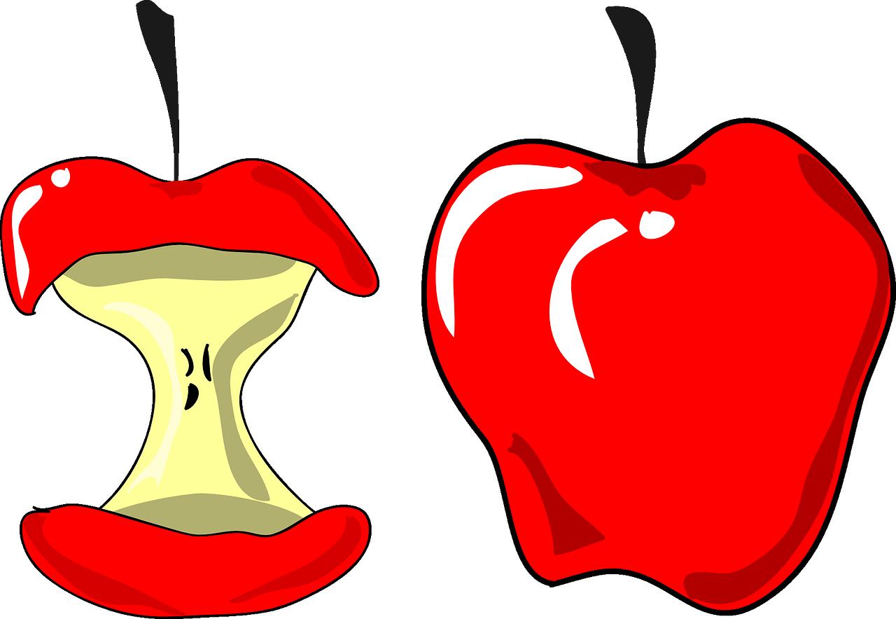 Bitten red apple.