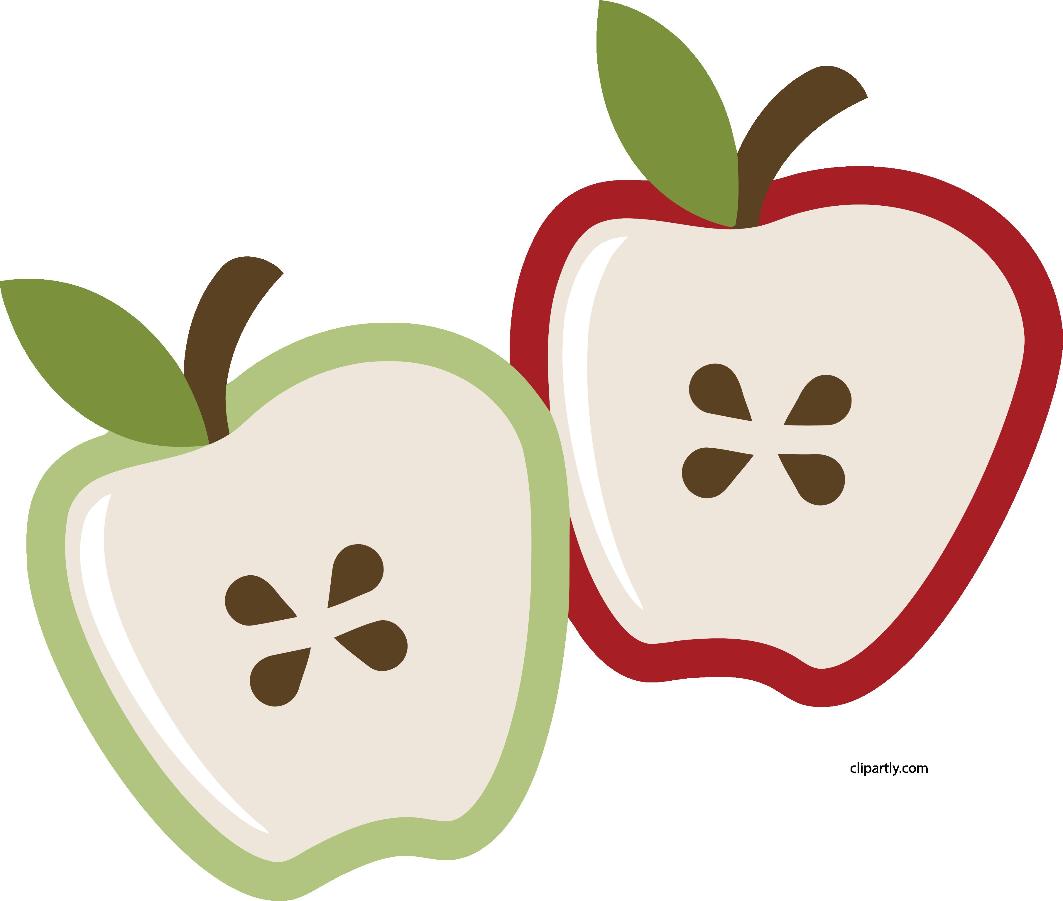 Double Half Apple Clipart Png