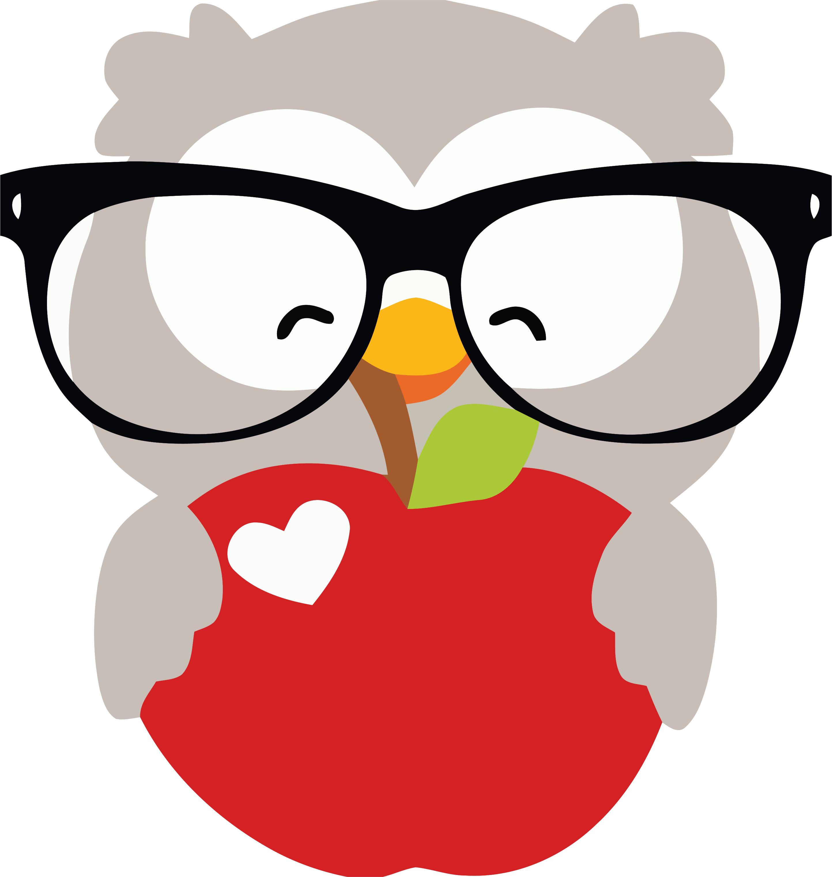 Glasses Happy Owl And Apple Clipart Png