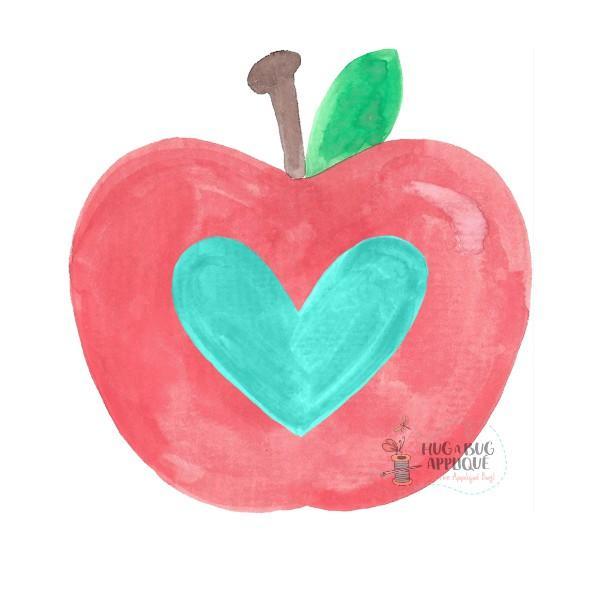 Apple heart watercolor.