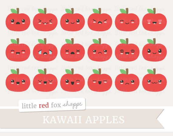 Kawaii Apple Clipart, Fruit Clip Art Faces Happy Summer Food
