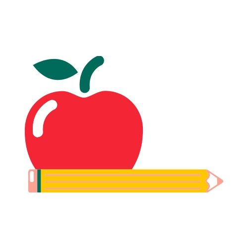 Apple and pencil.
