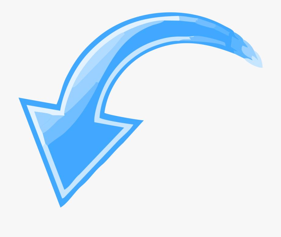 Blue curved arrow.