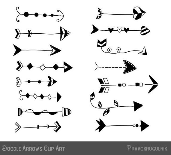 Rustic arrow clipart, Doodle arrow clipart set, Hand drawn