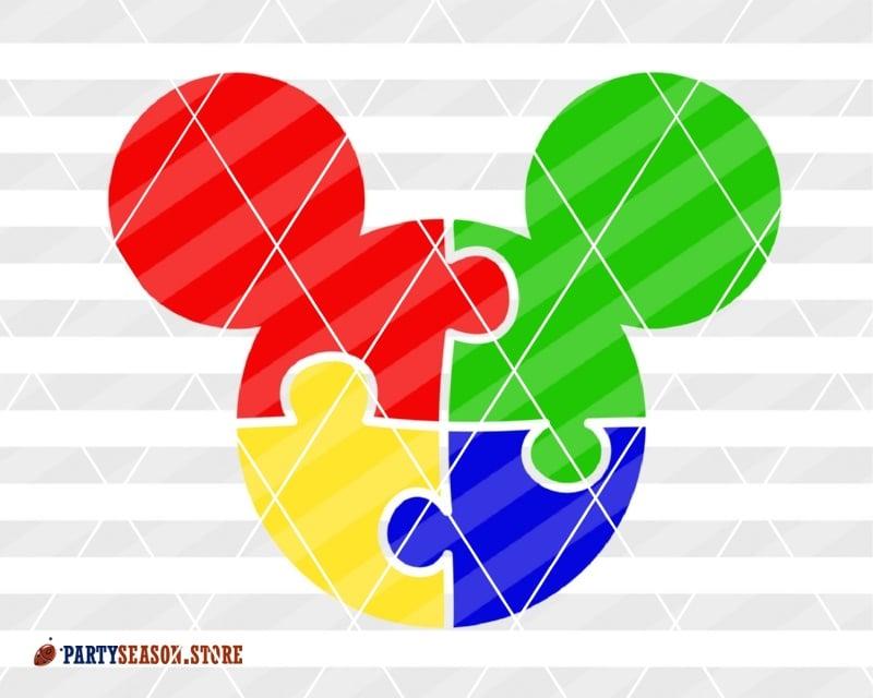 Bundle Autism Awareness svg decor Mickey Mouse Minnie Bow clipart Autism  shirt design Disney Puzzle Cut files Cricut Silhouette studio Dxf