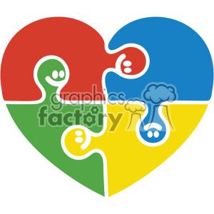 Autism puzzle pieces heart svg cut file clipart