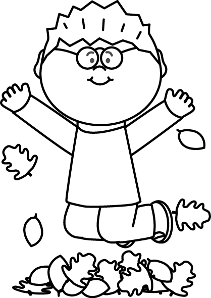 Fall clipart black and white boy. Clip art images