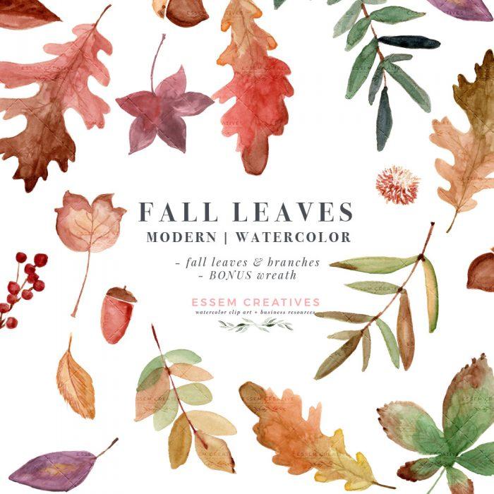 Watercolor fall leaves.