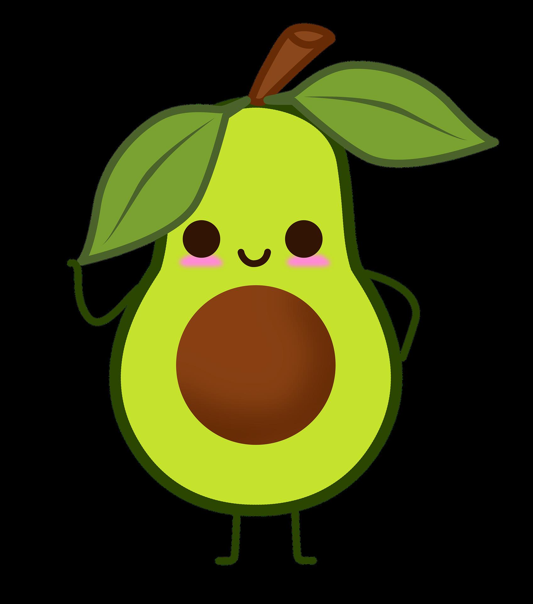 Avocado cartoon clipart.