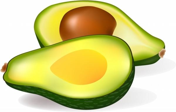 Two half avocados.