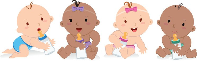 Happy babies with board Clipart Image