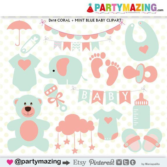 Baby Stuff Clipart, Baby Shower Clipart, Coral and Mint