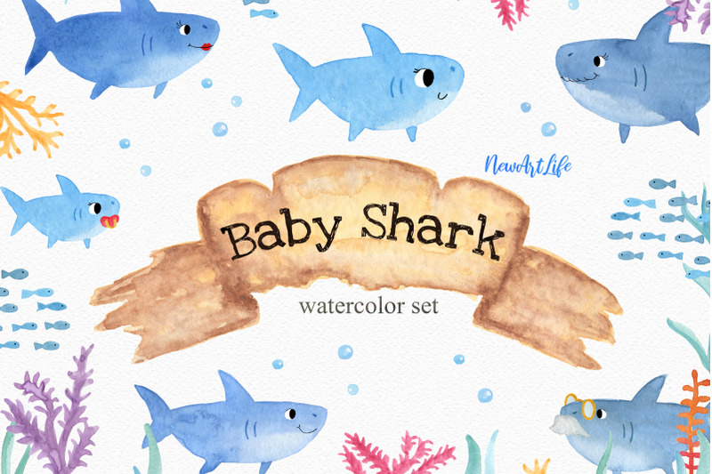 Baby shark watercolor.