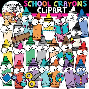 School crayons clipart.
