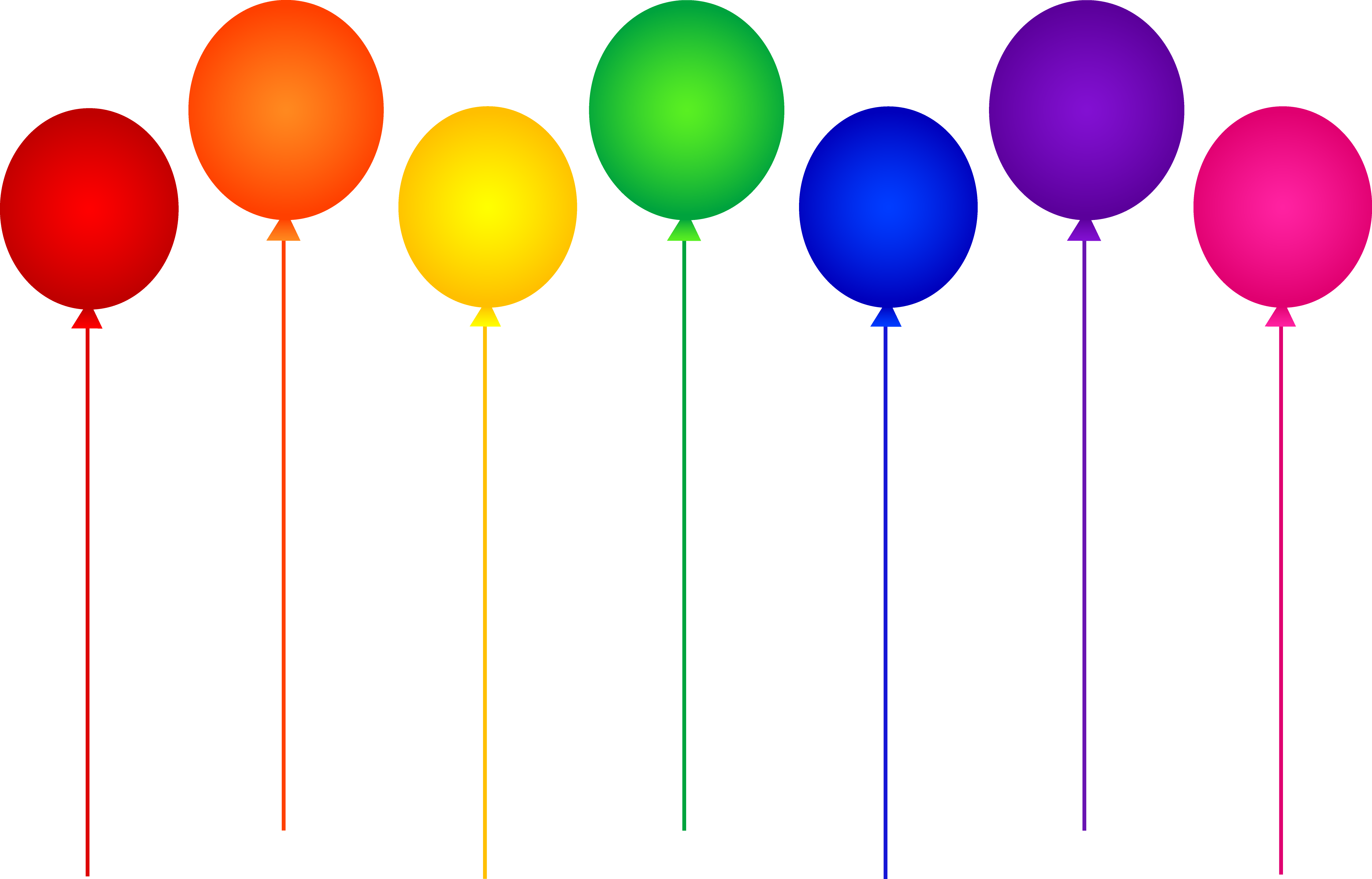 Colored Birthday Balloons Clip Art free image