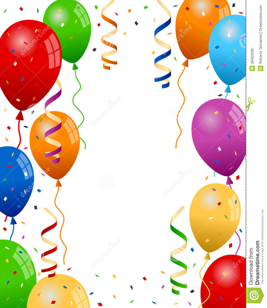 Party Balloons And Confetti