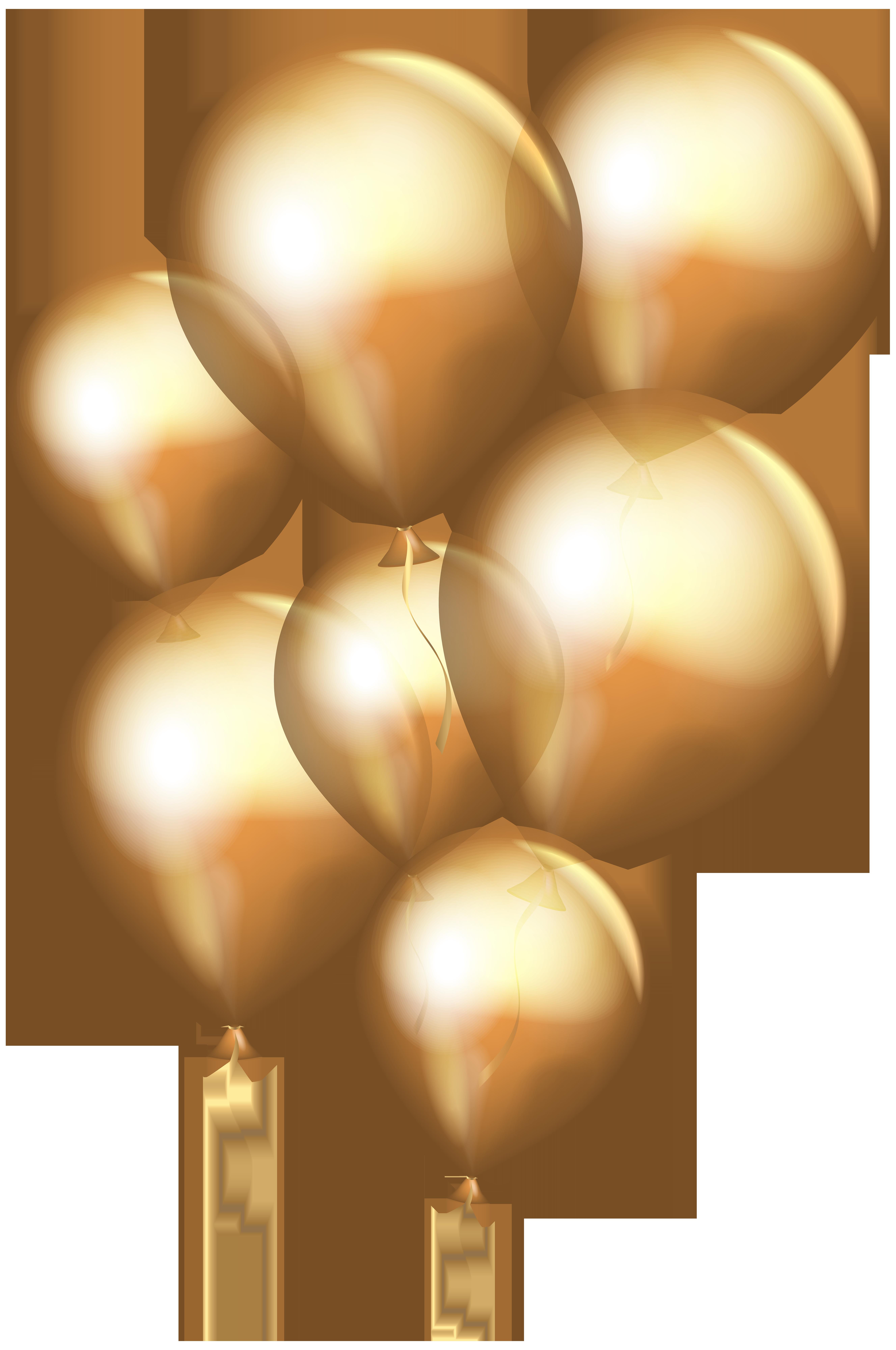 Transparent Gold Balloons PNG Clip Art