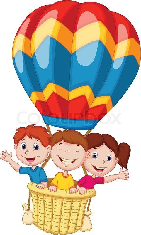 Happy kids cartoon riding a hot air balloon