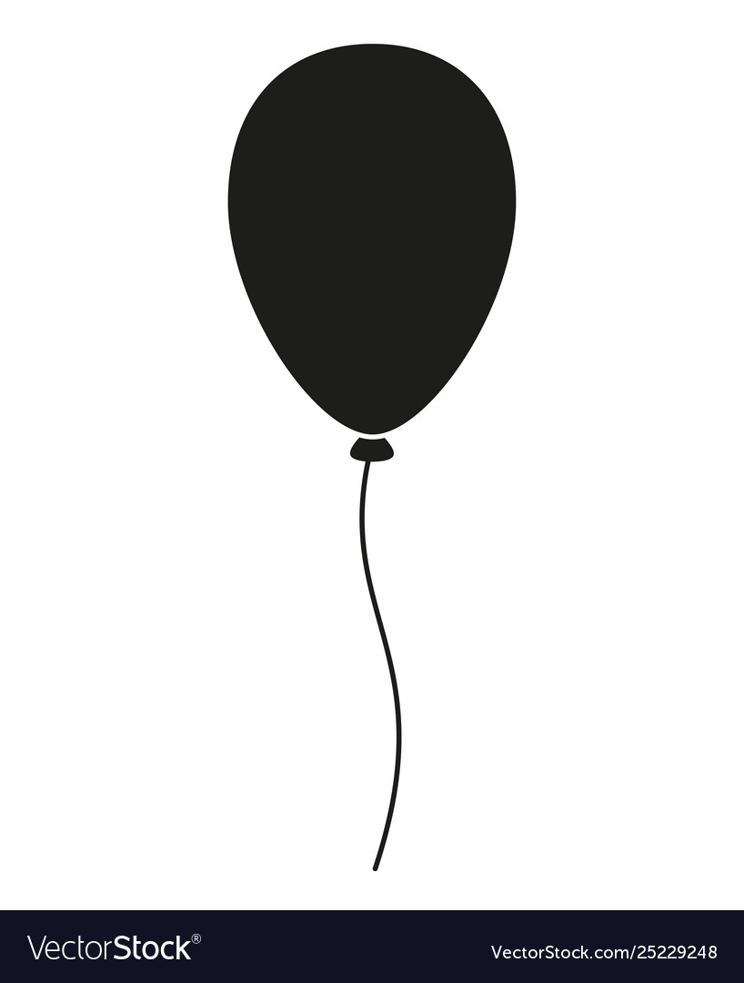 Black and white baloon silhouette vector image