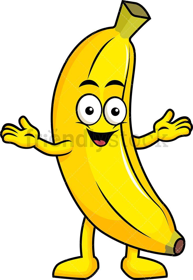 Happy banana mascot.