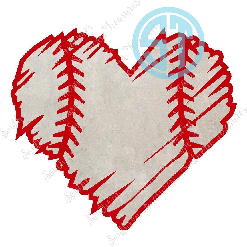 Baseball distressed heart.
