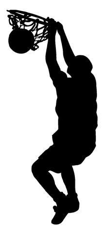 Silhouette basketball dunk.