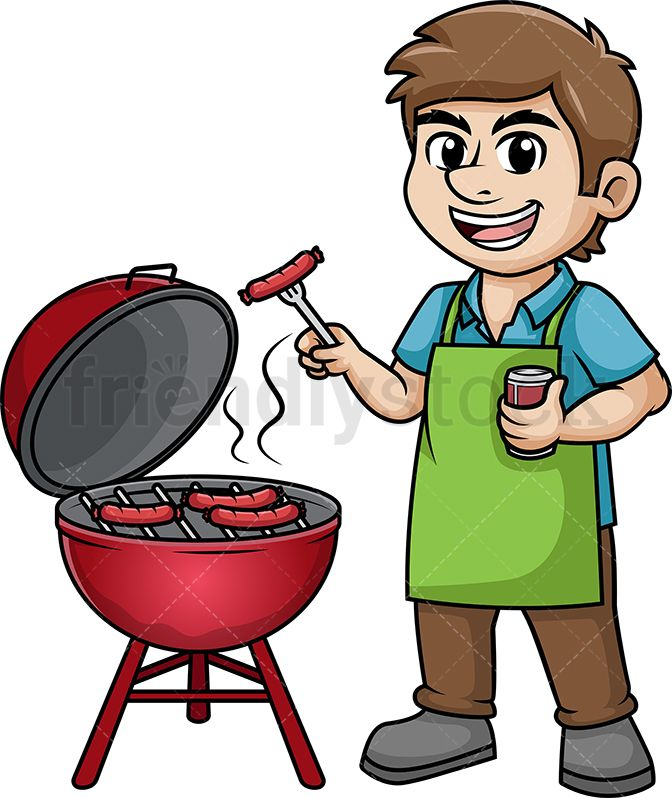 Man cooking barbecue.