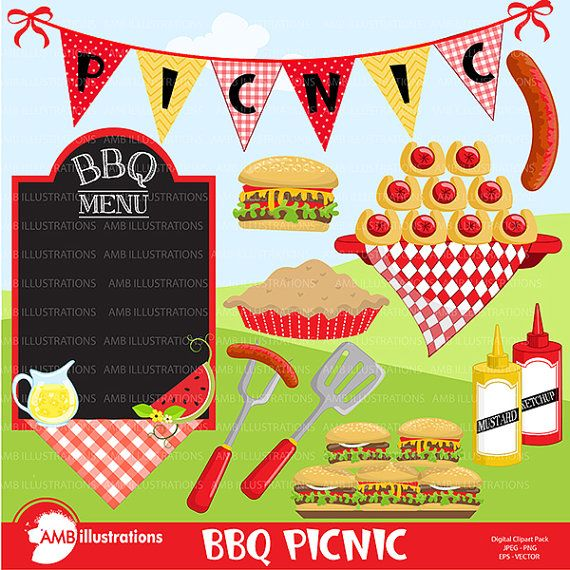 BBQ clipart, Picnic clipart, Barbecue clipart, Grill food