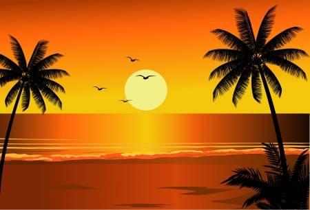 beach clipart sunset