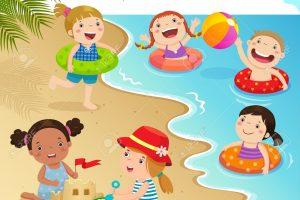 Swimming the beach.