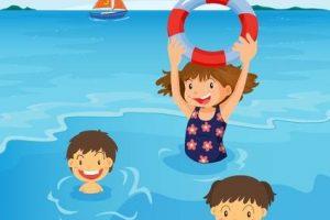 Kids swimming beach.